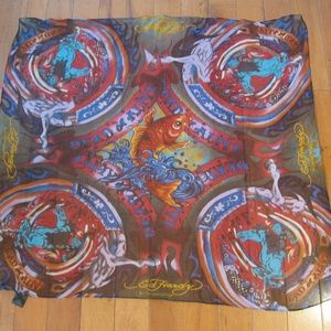 Ed Hardy Silk Scarf Dead or Alive Horses Fish